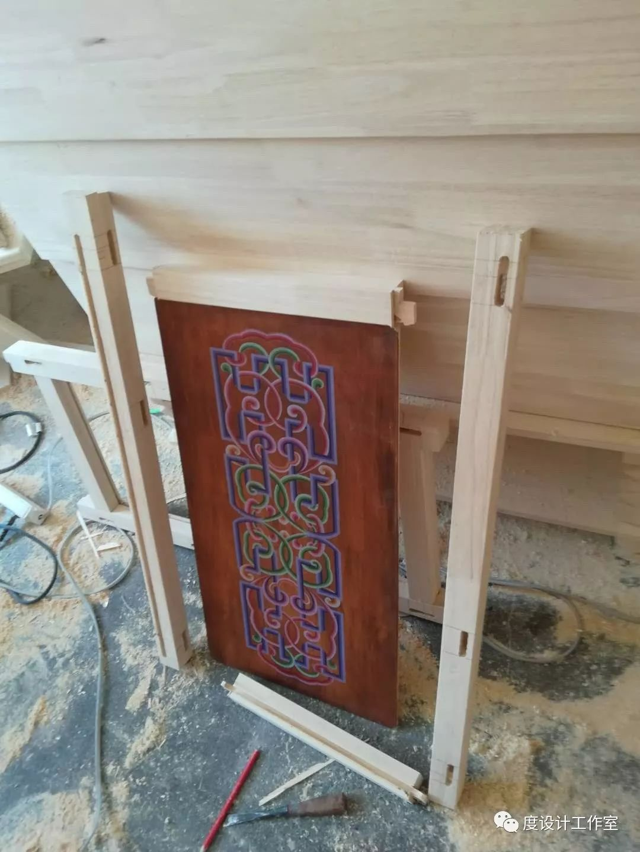 从图纸到实物,我们一起走过|彩绘蒙古族风格立柜的制作过程展示 第18张