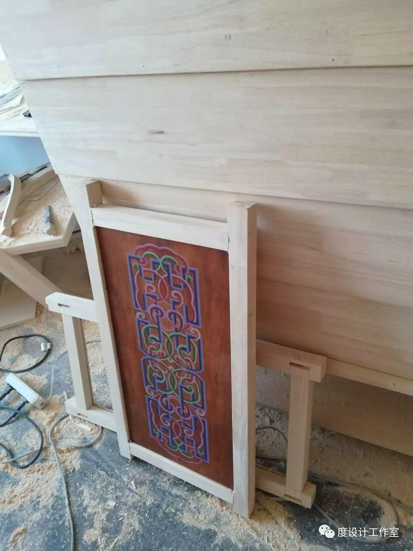 从图纸到实物,我们一起走过|彩绘蒙古族风格立柜的制作过程展示 第19张