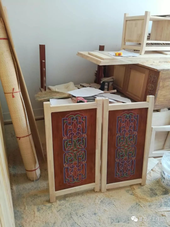 从图纸到实物,我们一起走过|彩绘蒙古族风格立柜的制作过程展示 第20张