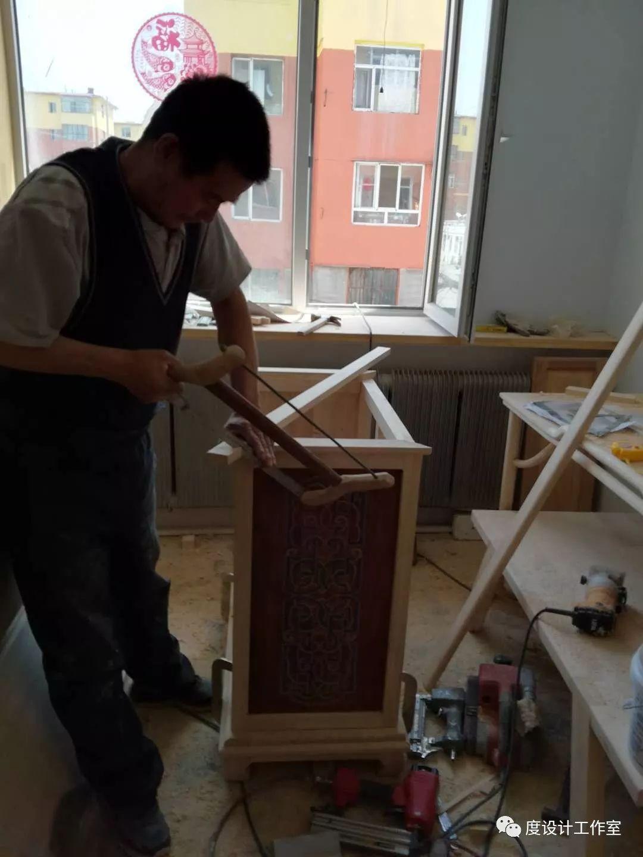 从图纸到实物,我们一起走过|彩绘蒙古族风格立柜的制作过程展示 第26张
