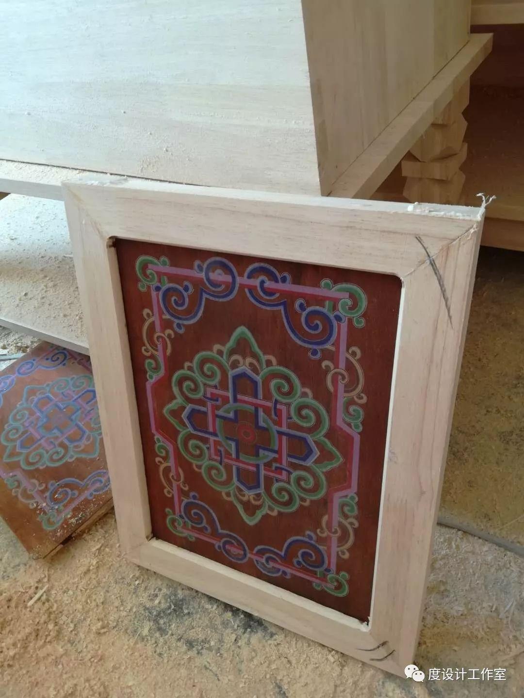 从图纸到实物,我们一起走过|彩绘蒙古族风格立柜的制作过程展示 第24张