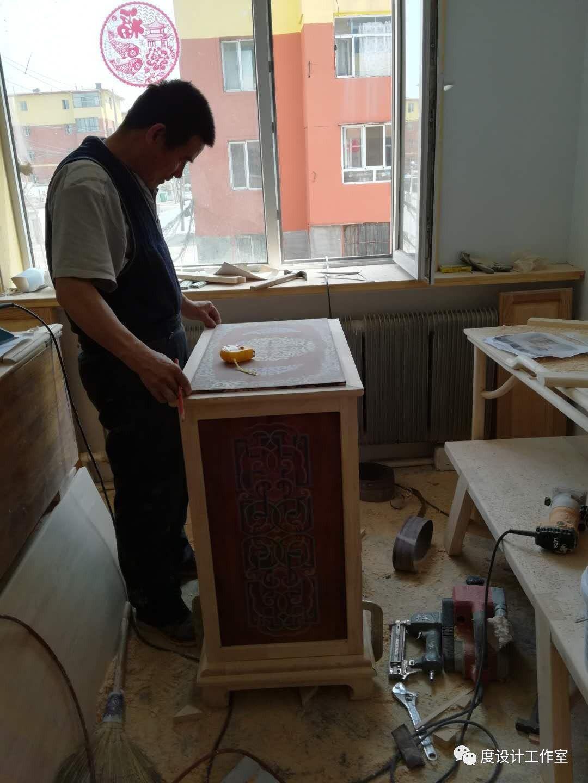 从图纸到实物,我们一起走过|彩绘蒙古族风格立柜的制作过程展示 第28张