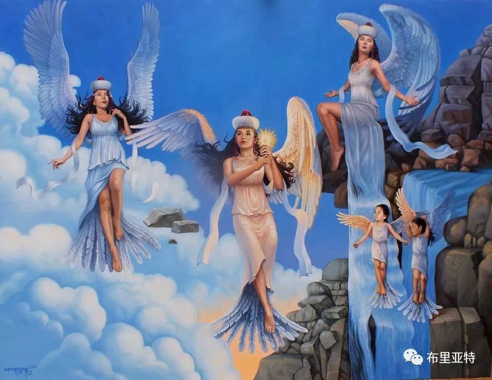 蒙古国90后自由画家甘·巴雅尔作品欣赏,浓浓的天鹅神话风 第1张