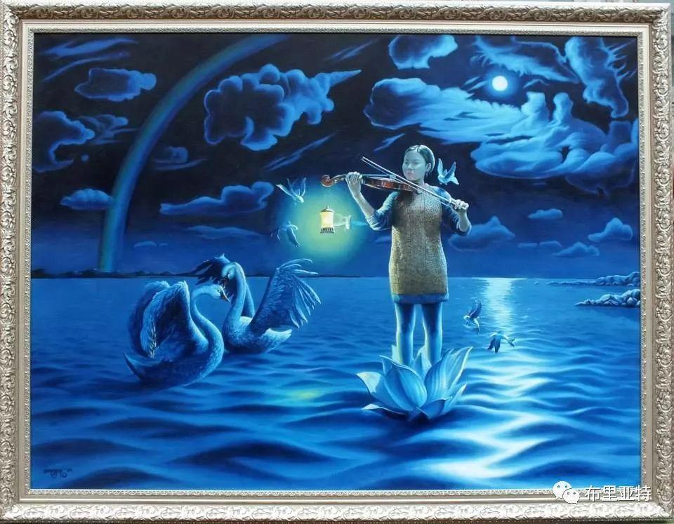 蒙古国90后自由画家甘·巴雅尔作品欣赏,浓浓的天鹅神话风 第5张