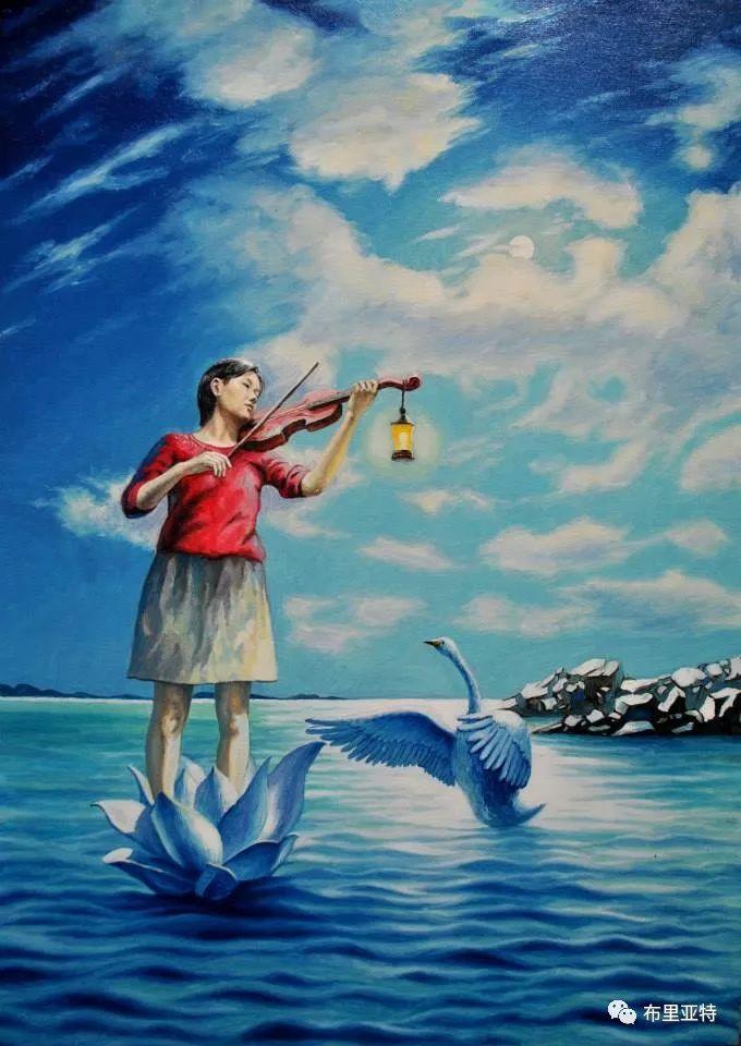 蒙古国90后自由画家甘·巴雅尔作品欣赏,浓浓的天鹅神话风 第6张