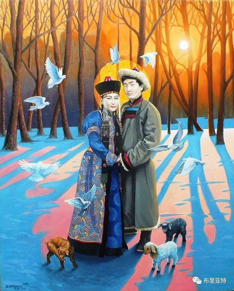 蒙古国90后自由画家甘·巴雅尔作品欣赏,浓浓的天鹅神话风 第11张