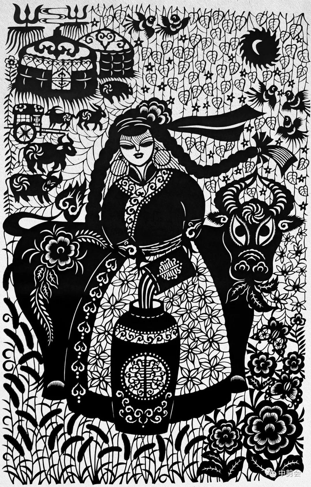 游唱游剪——记荣凤敏与她剪纸艺术中的草原风韵 第17张