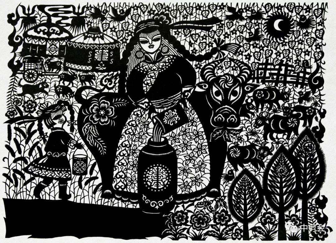 游唱游剪——记荣凤敏与她剪纸艺术中的草原风韵 第16张