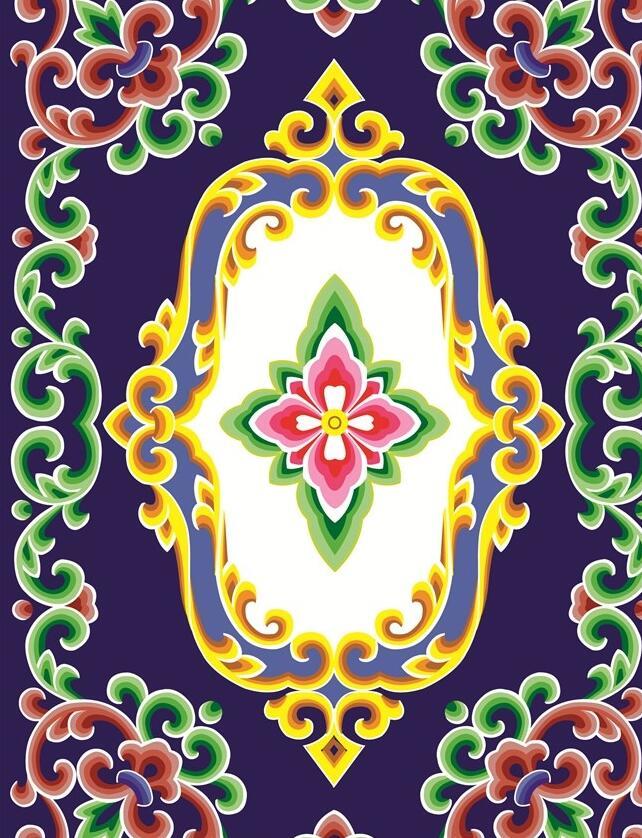 蒙古图案彩色植物图片2 第1张
