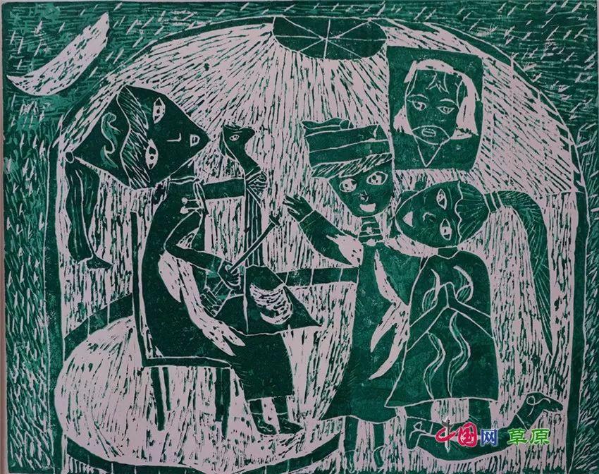 弘扬乌兰牧骑精神 深入生活采风:纸上笔底的科尔沁风情之版画篇(原创组图) 第5张