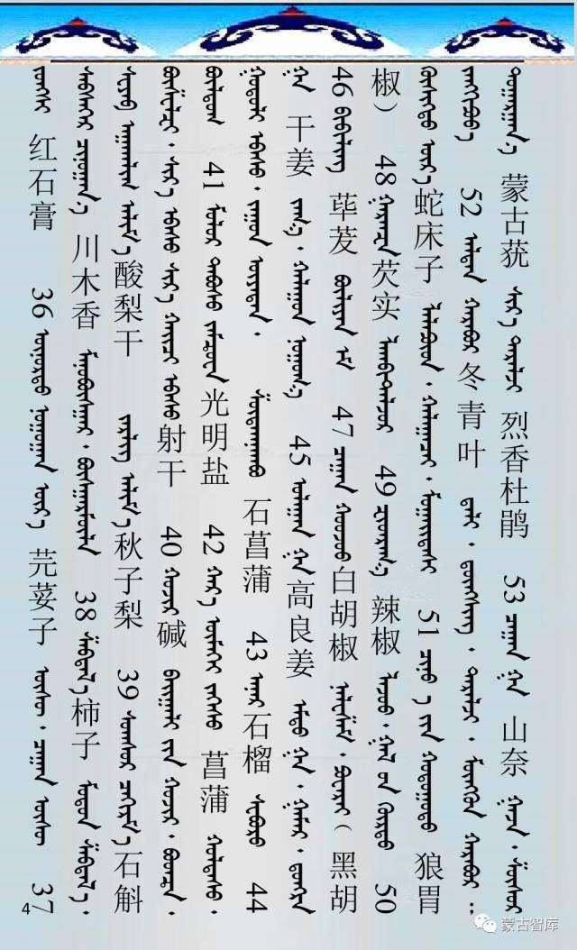 蒙古药材的蒙古、藏、汉译名称对照 第5张 蒙古药材的蒙古、藏、汉译名称对照 蒙古文库