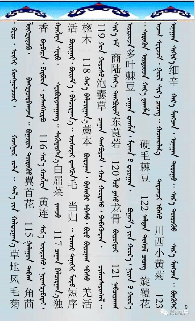 蒙古药材的蒙古、藏、汉译名称对照 第10张 蒙古药材的蒙古、藏、汉译名称对照 蒙古文库
