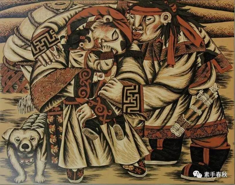 科尔沁版画家吕红梅 第6张 科尔沁版画家吕红梅 蒙古画廊