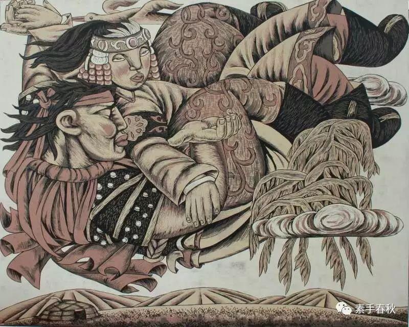 科尔沁版画家吕红梅 第8张 科尔沁版画家吕红梅 蒙古画廊