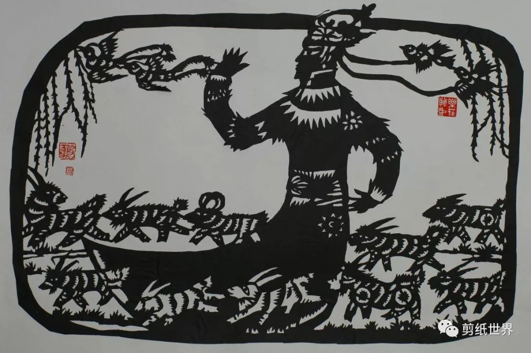 一组蒙古族风格剪纸,草原气息扑面而来,欣赏一下! 第4张 一组蒙古族风格剪纸,草原气息扑面而来,欣赏一下! 蒙古画廊