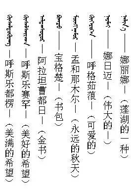 3000个蒙古名字 你一定很需要(记得收藏) 第2张 3000个蒙古名字 你一定很需要(记得收藏) 蒙古文化