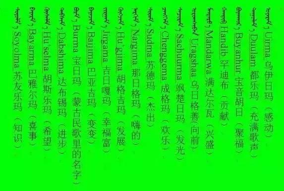 3000个蒙古名字 你一定很需要(记得收藏) 第15张 3000个蒙古名字 你一定很需要(记得收藏) 蒙古文化