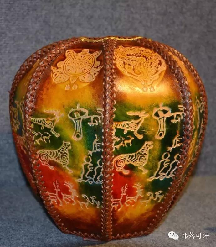 蒙古族皮画皮雕艺术欣赏 第7张
