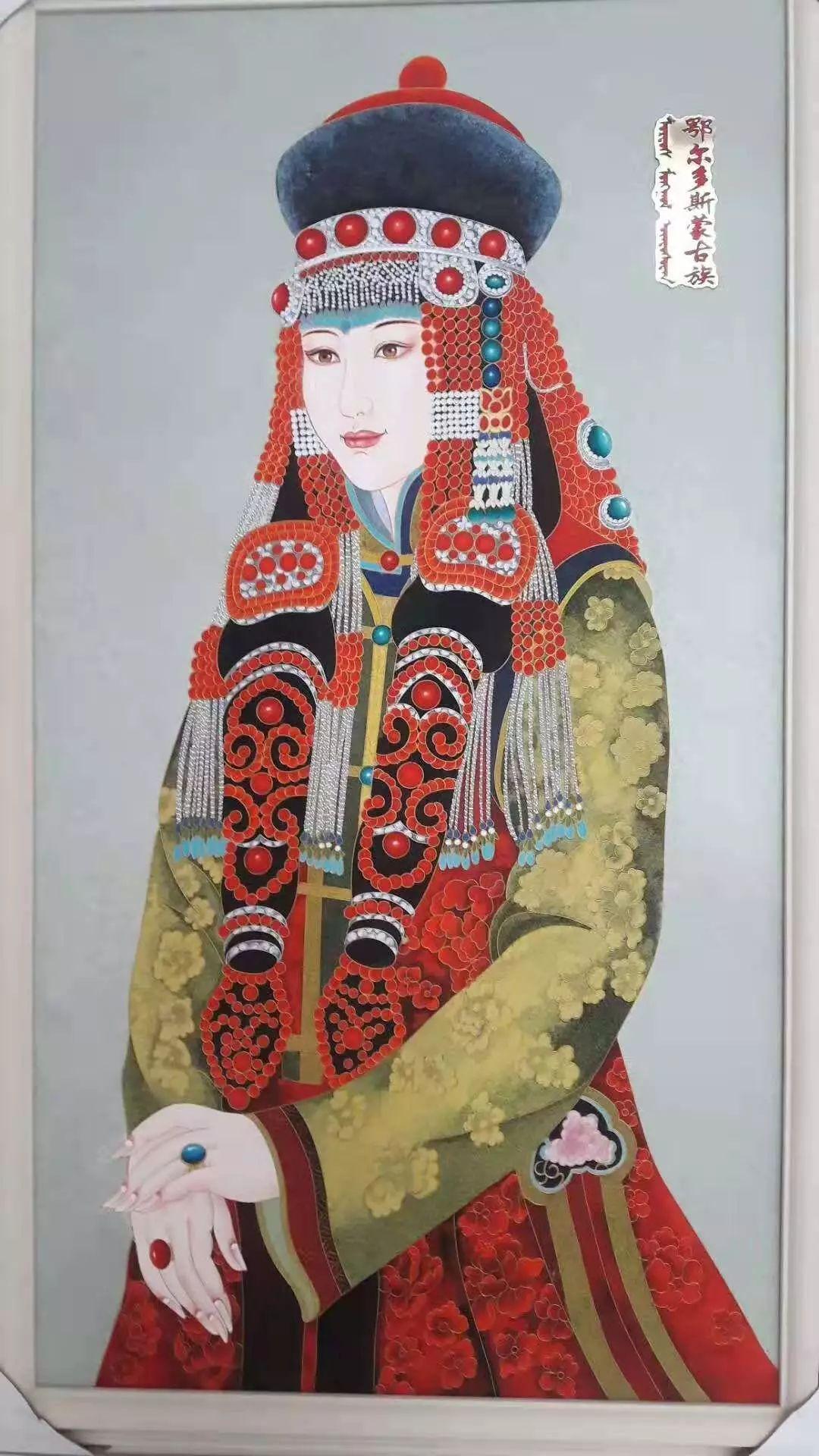 请您欣赏金丝彩岩手工艺作品——蒙古族部落妇女系列 第3张