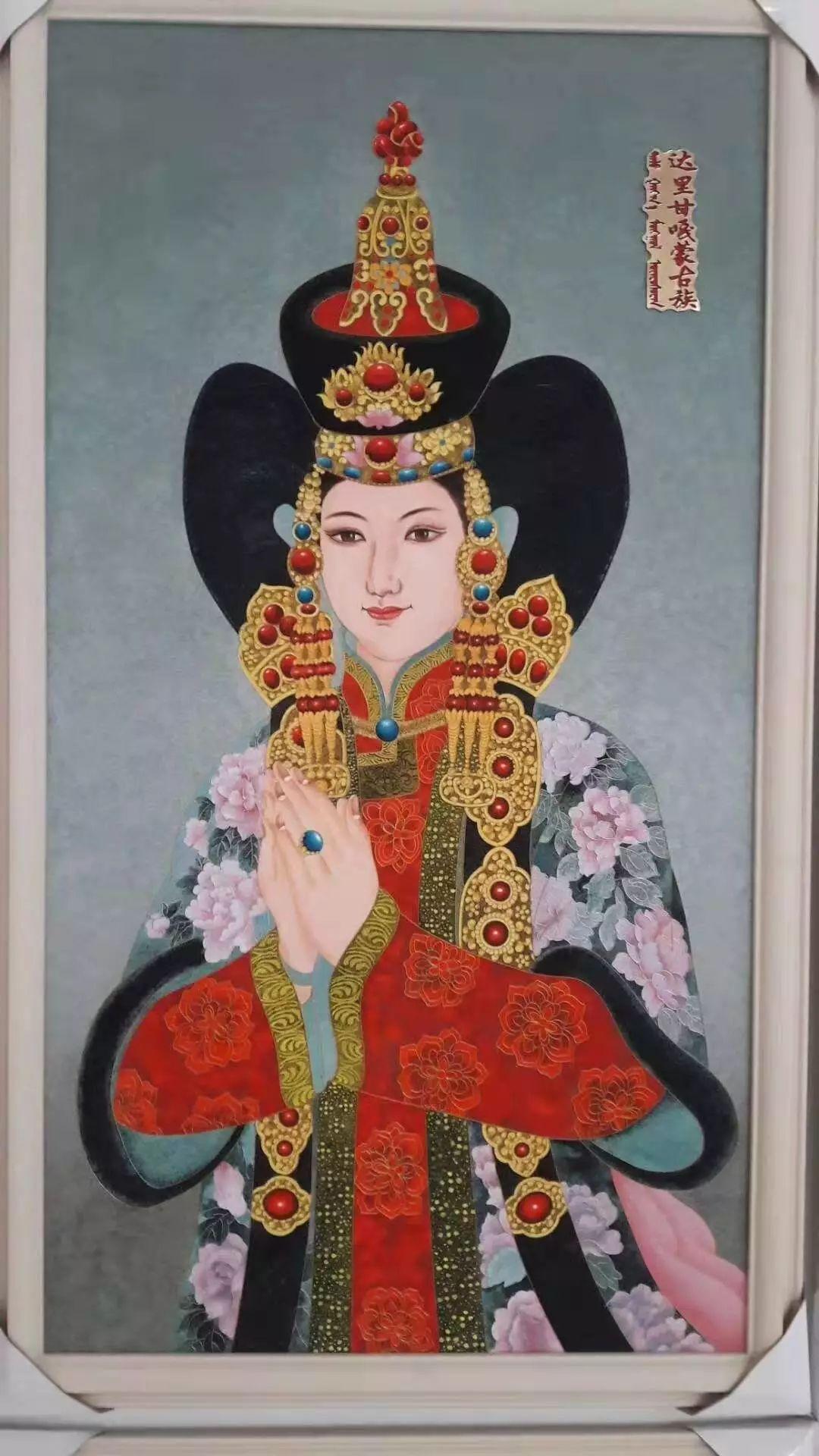 请您欣赏金丝彩岩手工艺作品——蒙古族部落妇女系列 第5张