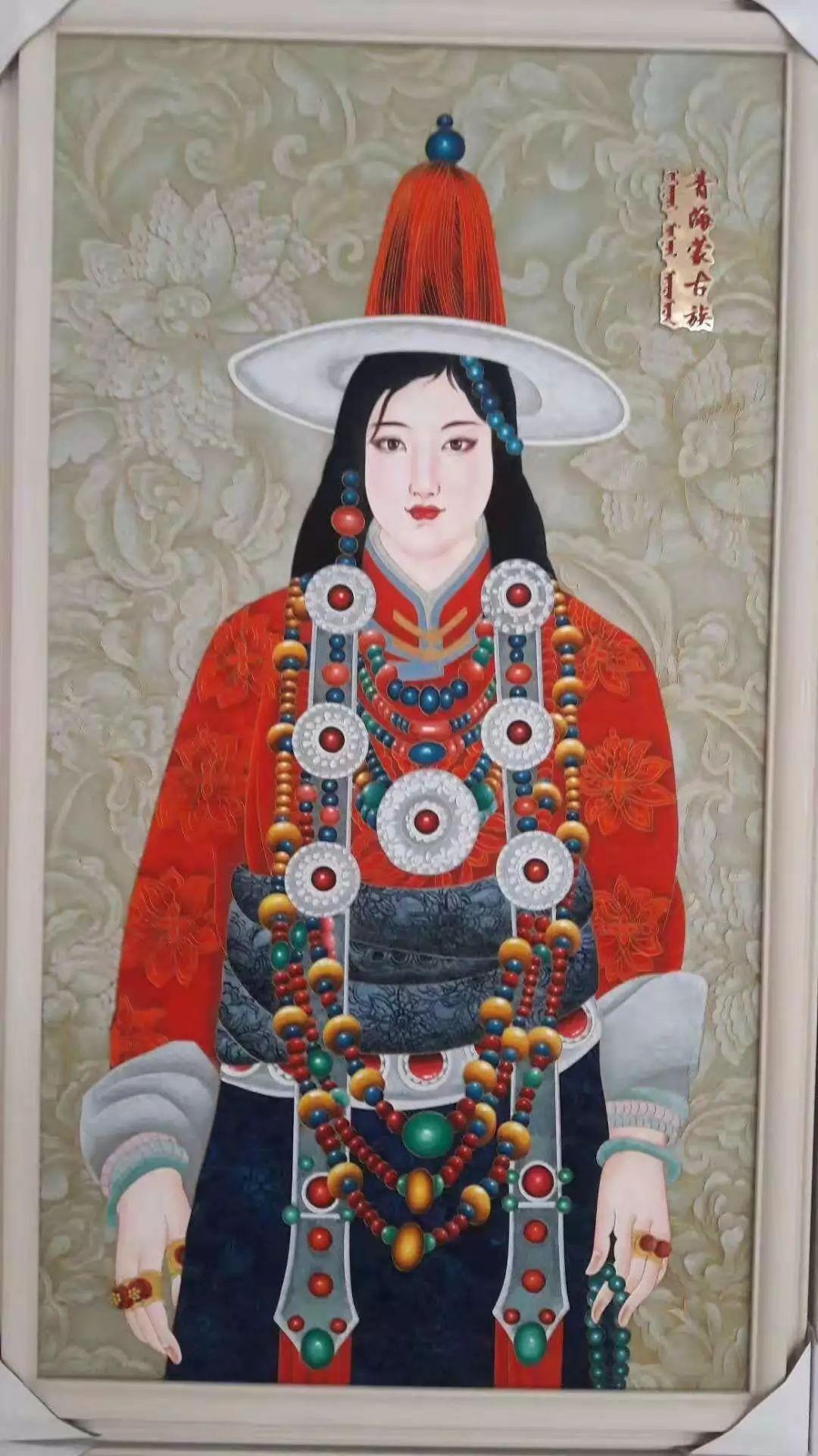 请您欣赏金丝彩岩手工艺作品——蒙古族部落妇女系列 第6张