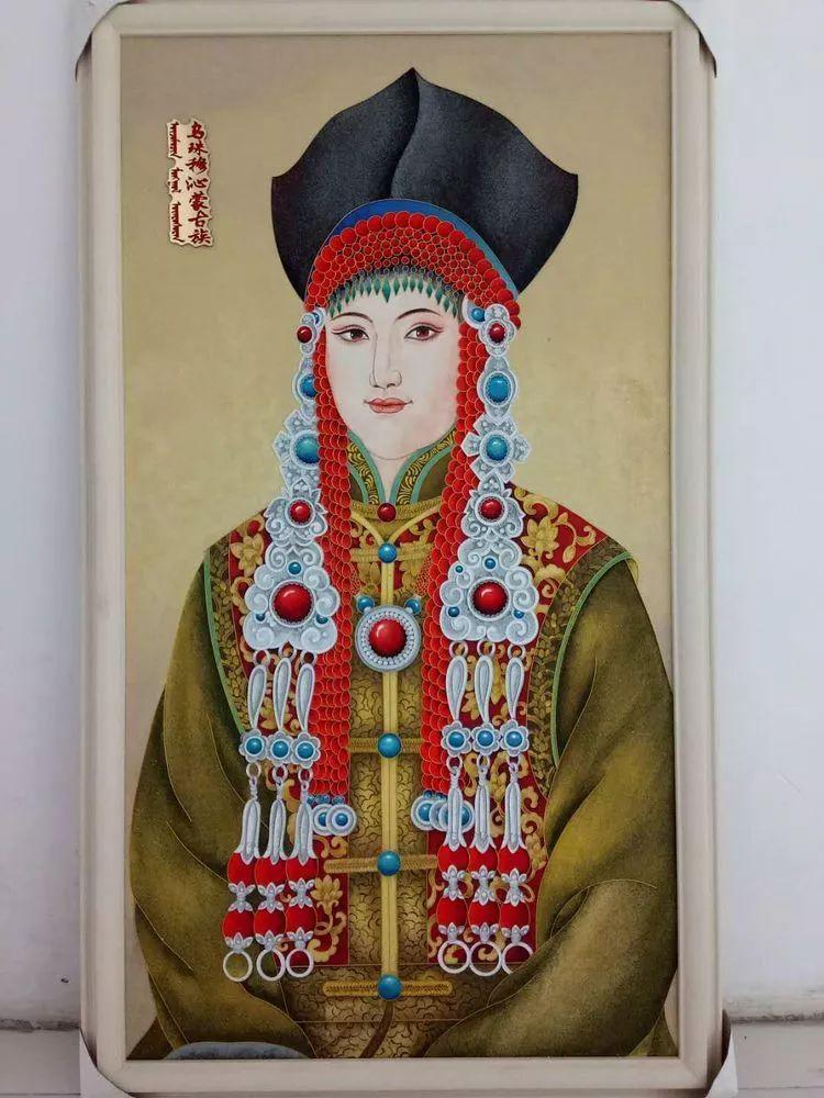 请您欣赏金丝彩岩手工艺作品——蒙古族部落妇女系列 第7张