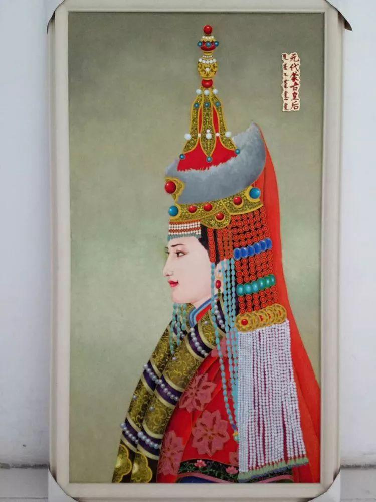 请您欣赏金丝彩岩手工艺作品——蒙古族部落妇女系列 第12张