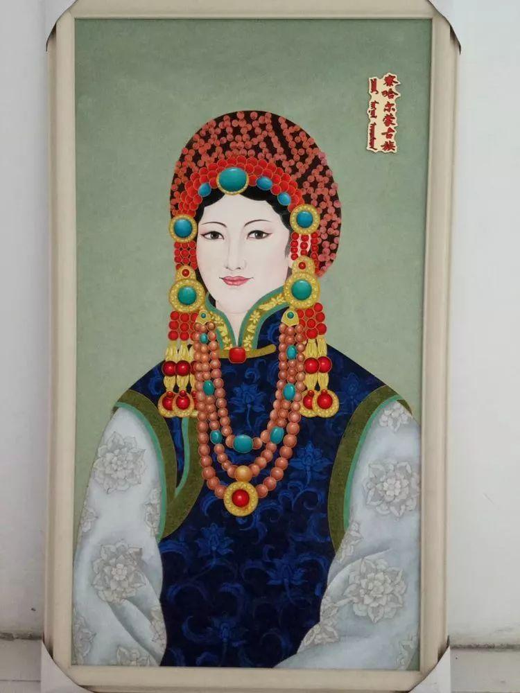请您欣赏金丝彩岩手工艺作品——蒙古族部落妇女系列 第19张