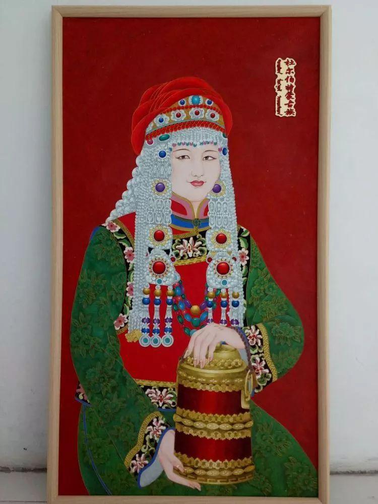 请您欣赏金丝彩岩手工艺作品——蒙古族部落妇女系列 第24张