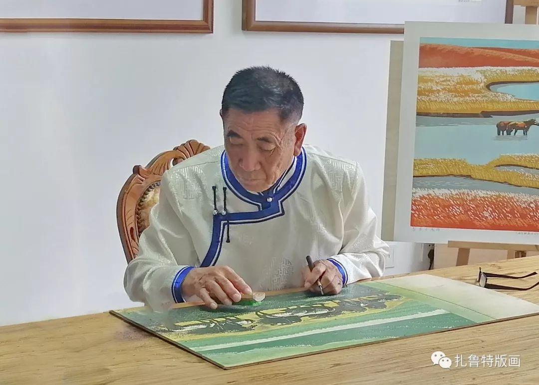 牧民版画家--照那木拉 第1张 牧民版画家--照那木拉 蒙古画廊