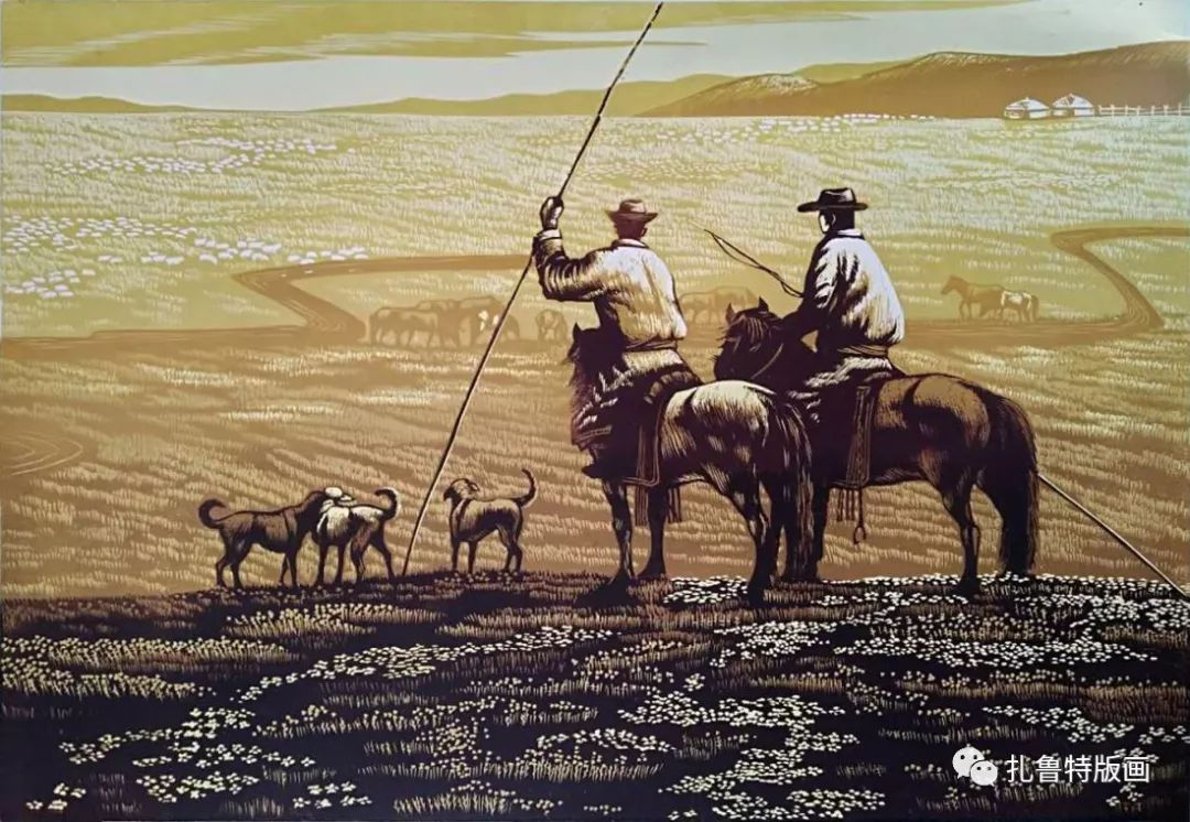 牧民版画家--照那木拉 第3张 牧民版画家--照那木拉 蒙古画廊
