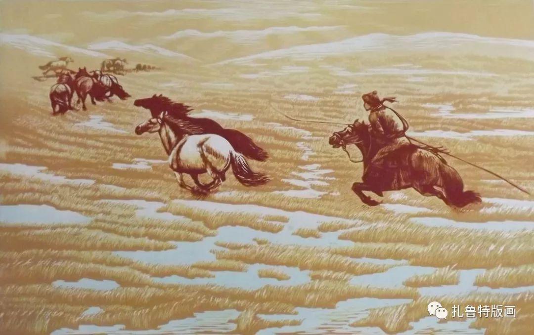 牧民版画家--照那木拉 第4张 牧民版画家--照那木拉 蒙古画廊