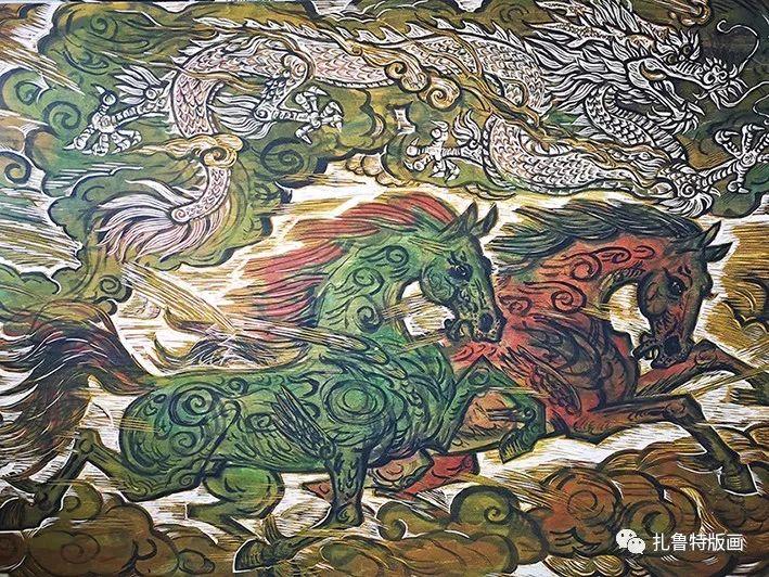 草原木刻艺术·扎鲁特版画 第9张 草原木刻艺术·扎鲁特版画 蒙古画廊
