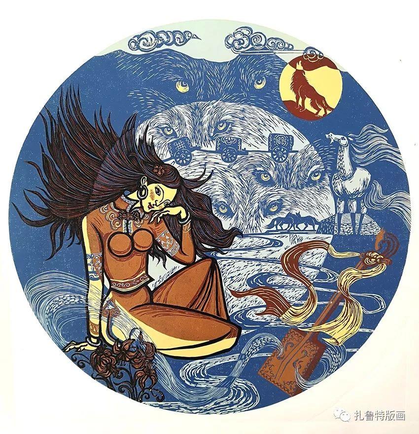 草原木刻艺术·扎鲁特版画 第18张 草原木刻艺术·扎鲁特版画 蒙古画廊