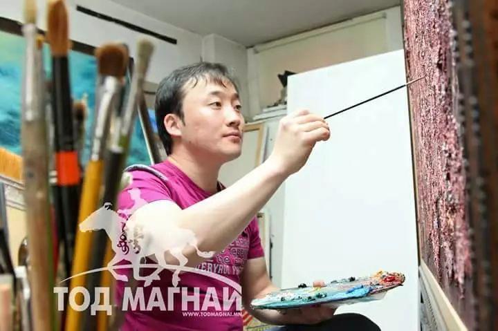 画家道尔吉德日木画笔下的蒙古马,简直栩栩如生 第1张