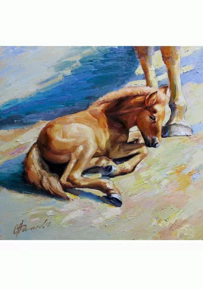 画家道尔吉德日木画笔下的蒙古马,简直栩栩如生 第9张