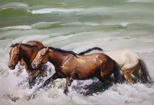 画家道尔吉德日木画笔下的蒙古马,简直栩栩如生 第11张