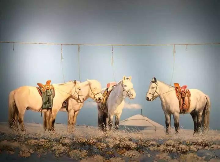 画家道尔吉德日木画笔下的蒙古马,简直栩栩如生 第16张