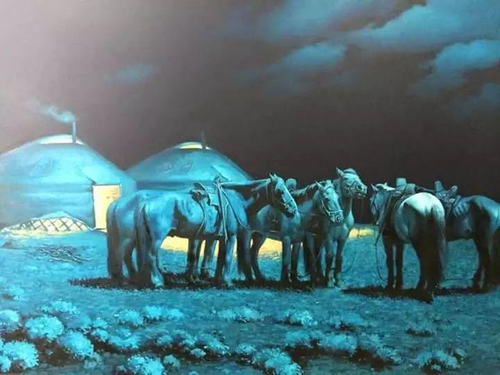 画家道尔吉德日木画笔下的蒙古马,简直栩栩如生 第20张