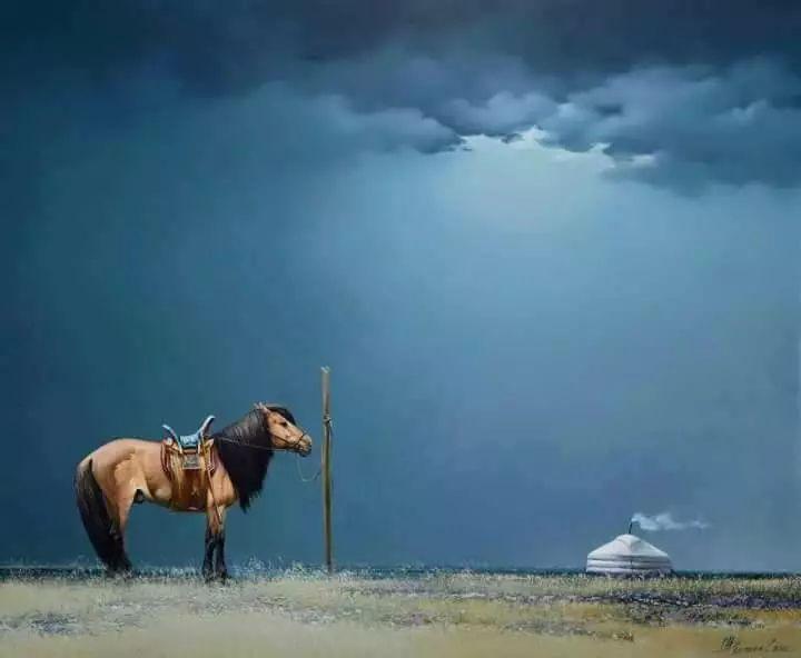画家道尔吉德日木画笔下的蒙古马,简直栩栩如生 第18张