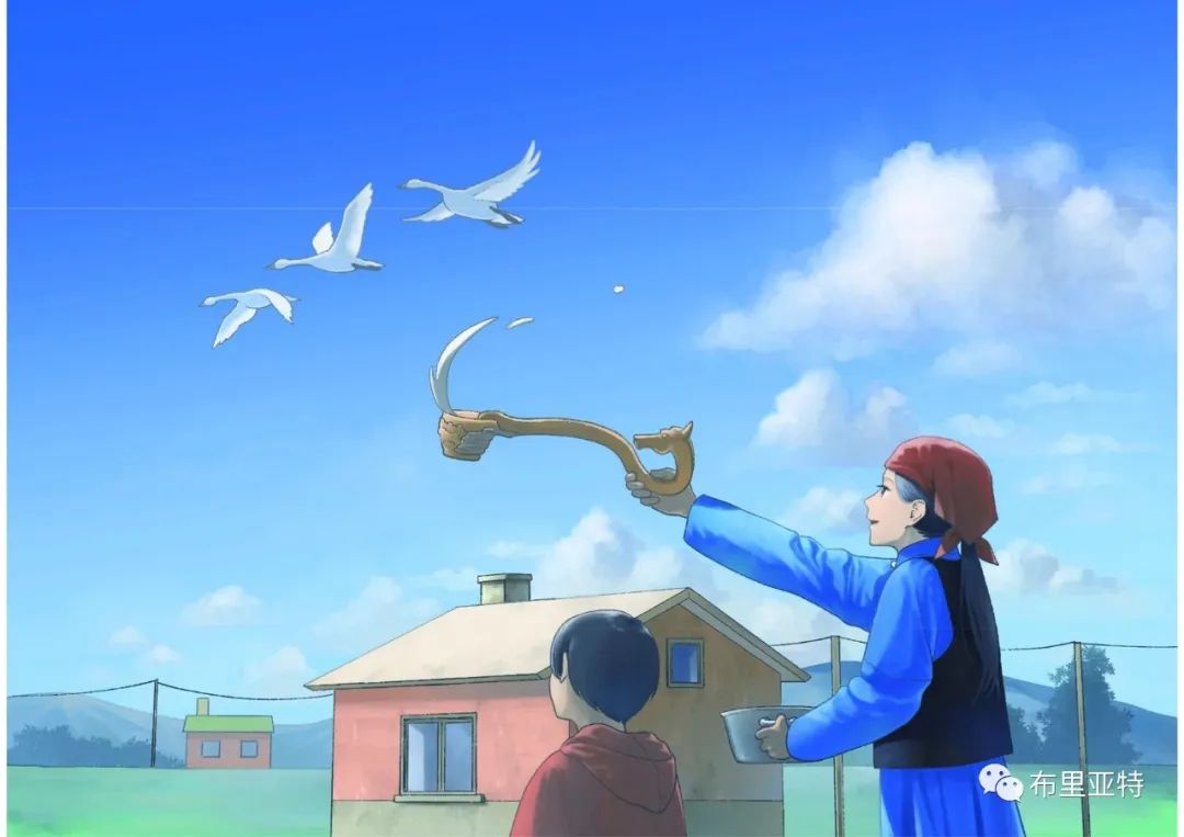 白鳥と狩人―ブリヤートの⺠話 / ᠬᠤᠨ ᠰᠢᠪᠠᠭᠤᠨ ᠤ ᠦᠯᠢᠭᠡᠷ ᠪᠤᠷᠢᠶᠠᠳ ᠤᠨ ᠠᠮᠠᠨ 第33张 白鳥と狩人―ブリヤートの⺠話 / ᠬᠤᠨ ᠰᠢᠪᠠᠭᠤᠨ ᠤ ᠦᠯᠢᠭᠡᠷ ᠪᠤᠷᠢᠶᠠᠳ ᠤᠨ ᠠᠮᠠᠨ ᠦᠯᠢᠭᠡᠷ 蒙古画廊