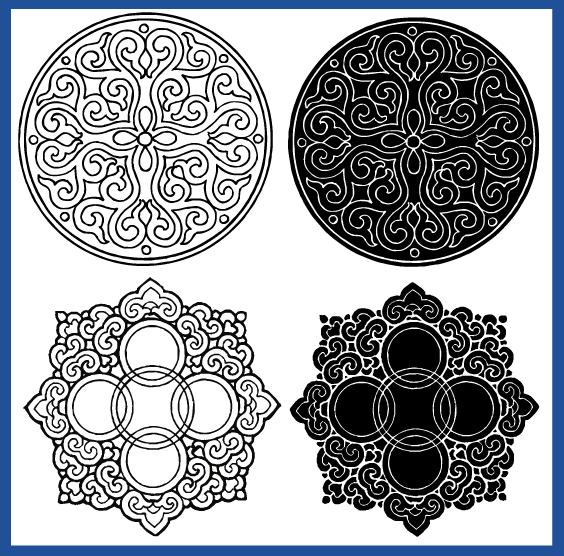 蒙古族花纹底纹图案 古典圆形镂空中式边框素材AI矢量 第8张