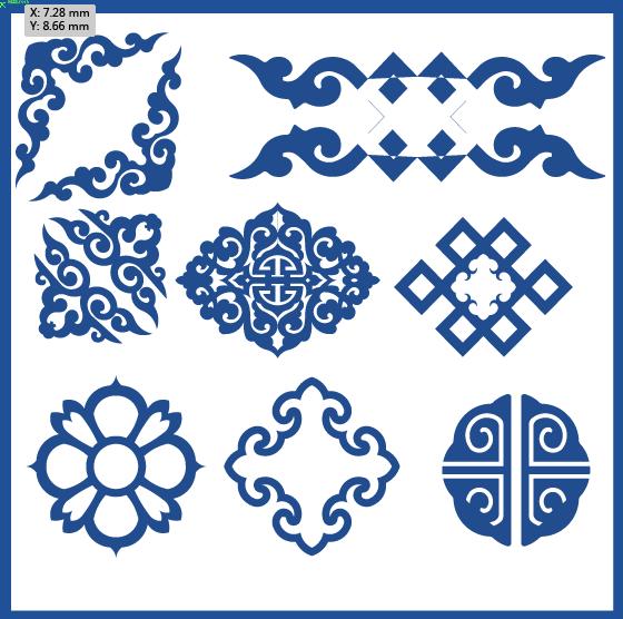 蒙古族花纹底纹图案 古典圆形镂空中式边框素材AI矢量 第13张