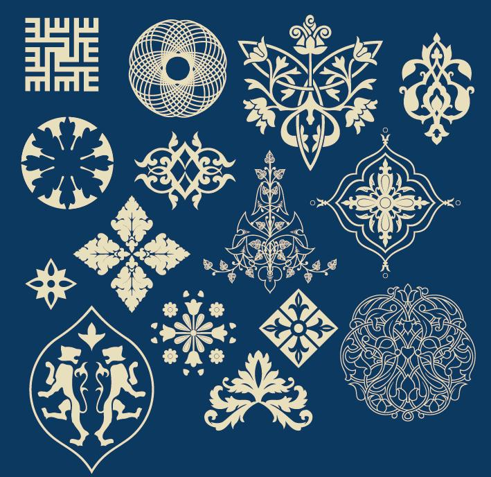 蒙古族花纹底纹图案 古典圆形镂空中式边框素材AI矢量 第6张