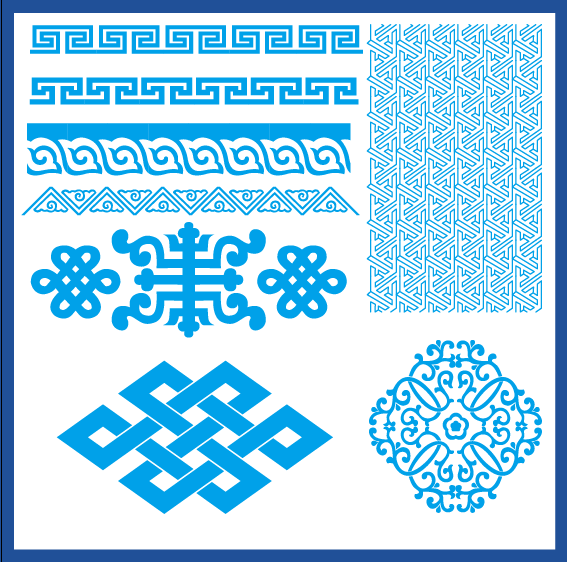 蒙古族花纹底纹图案 古典圆形镂空中式边框素材AI矢量 第11张