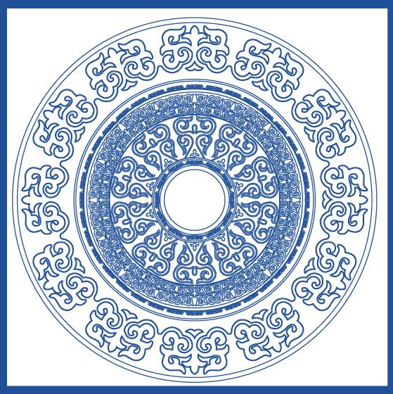 蒙古族花纹底纹图案 古典圆形镂空中式边框素材AI矢量 第12张