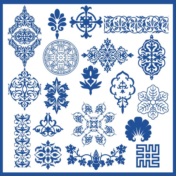 蒙古族花纹底纹图案 古典圆形镂空中式边框素材AI矢量 第17张