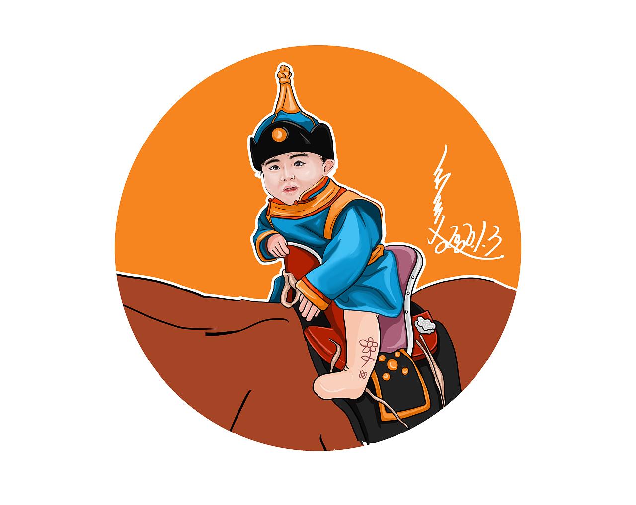蒙古人物插图设计(阿斯玛18248305310微信) 第2张