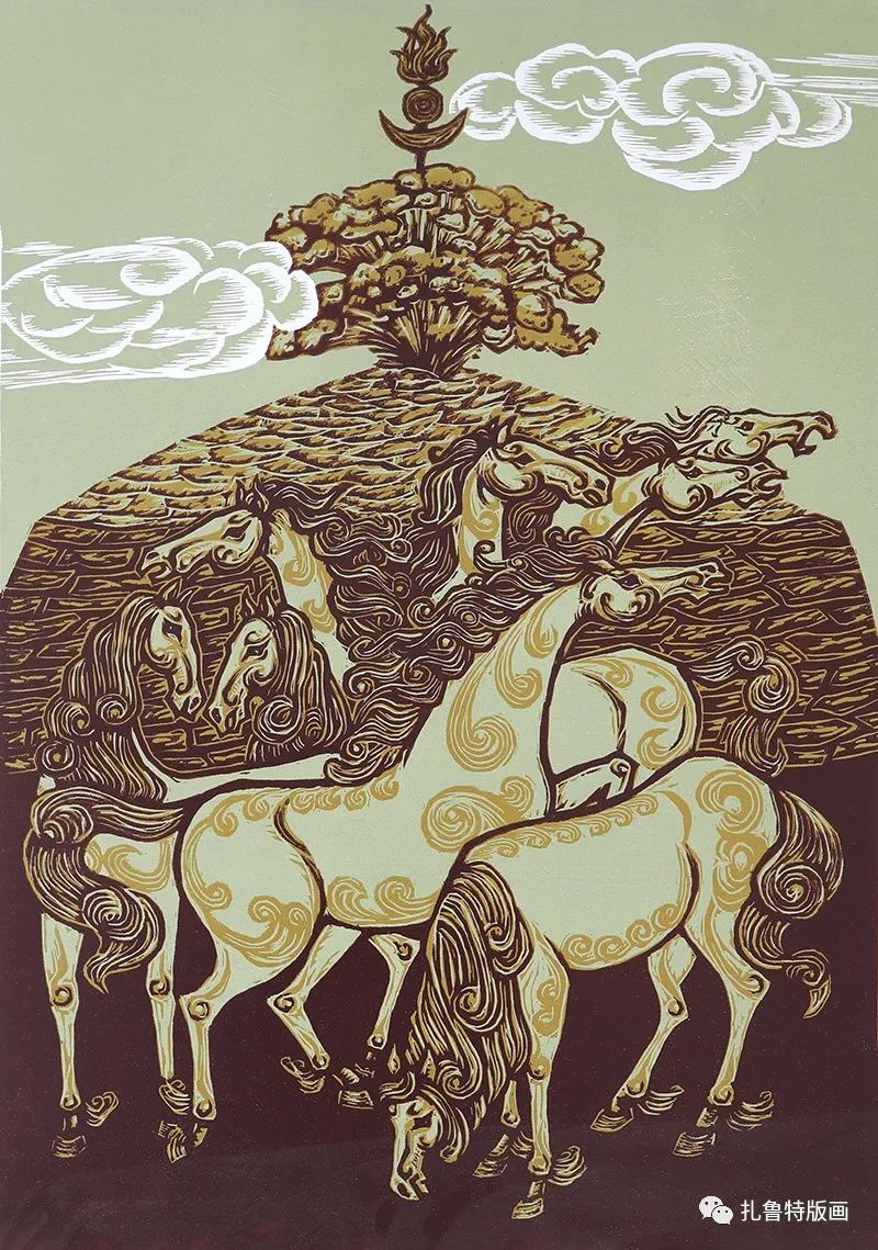 哈斯高娃版画作品欣赏 第11张