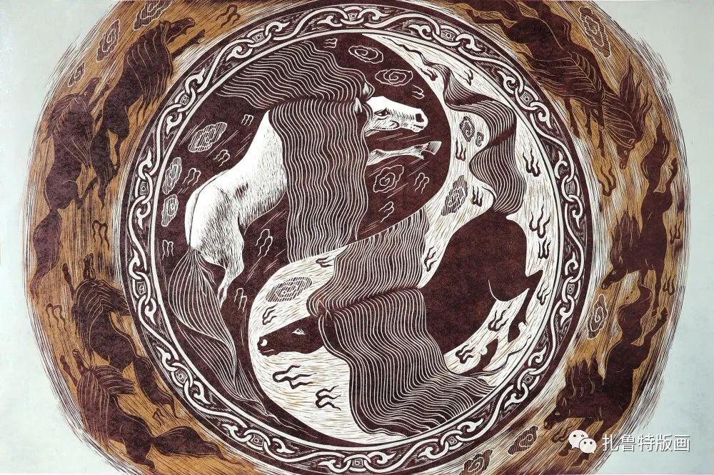 扎鲁特旗牧民版画家照那木拉作品欣赏 第5张